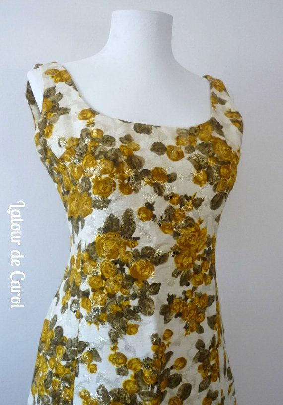 Vestido Vintage 1960 Metálico Brocato Blanco Dorado Brocato Metallic Dress Vintage 1960 White Gold