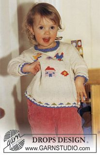 Sweater In Muskat With Birds And House Drops Design Babystrikning Baby Knitting Patterns Gratis Strik