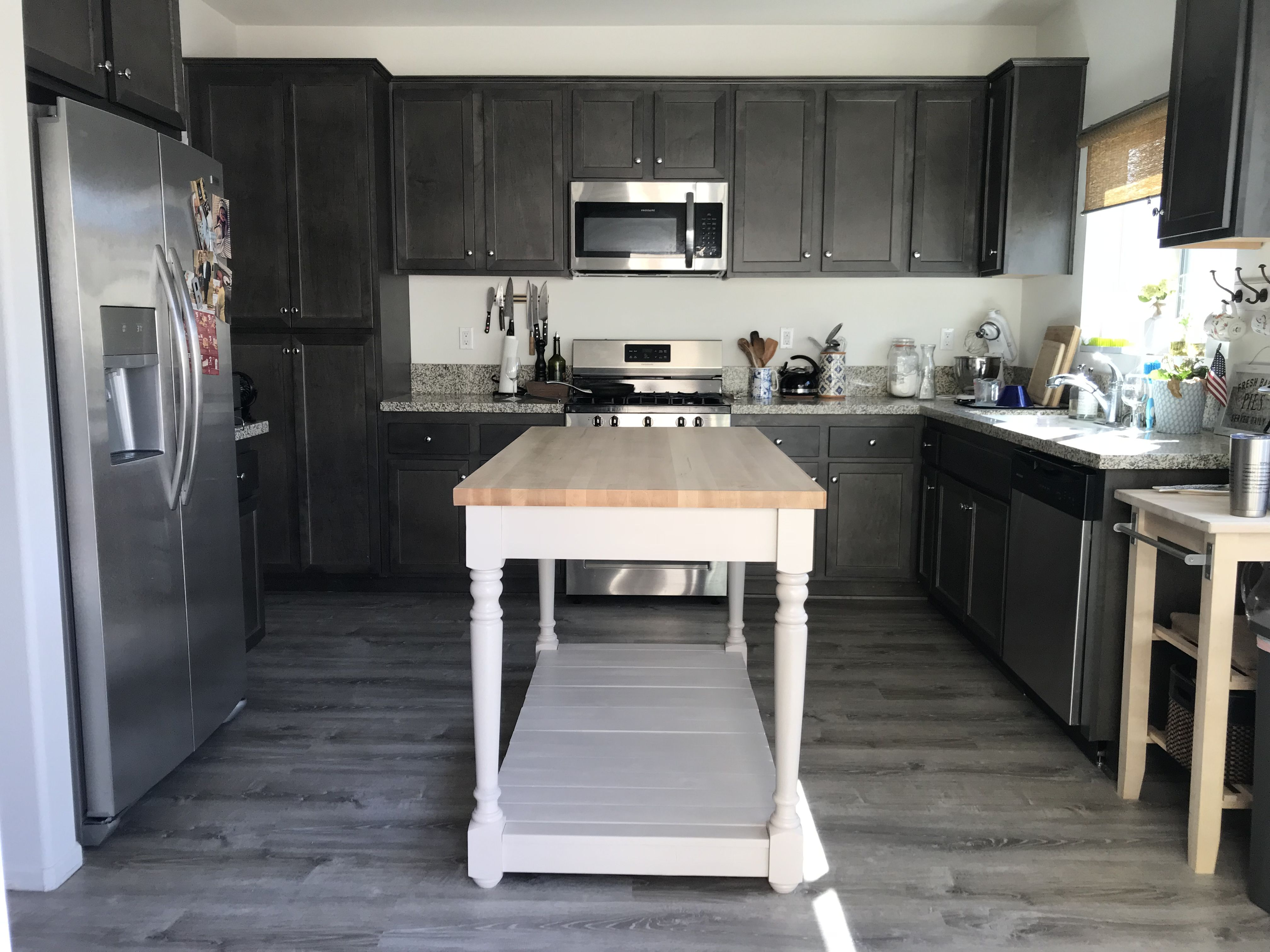 Created This Kitchen Island Using Solid Maple Butcher Block And