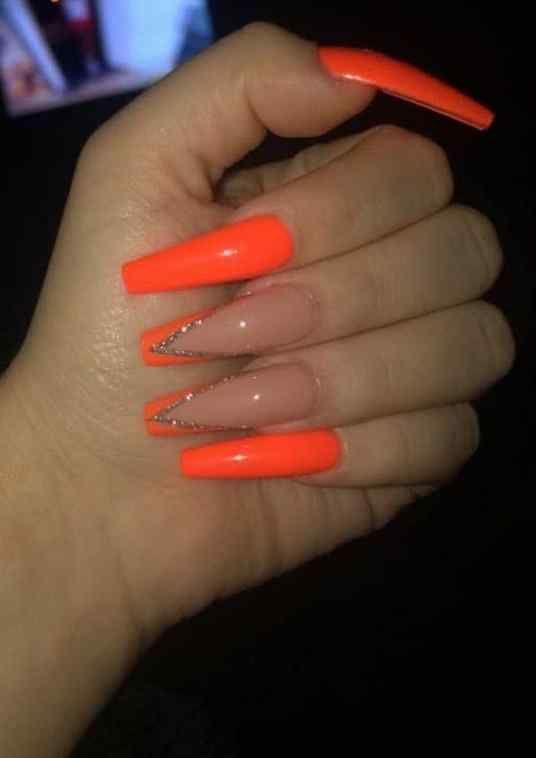 Elegant Nail Art Ideas And Images That You Must Love Nail Designs Orange Nails Orange Acrylic Nails Pretty Acrylic Nails