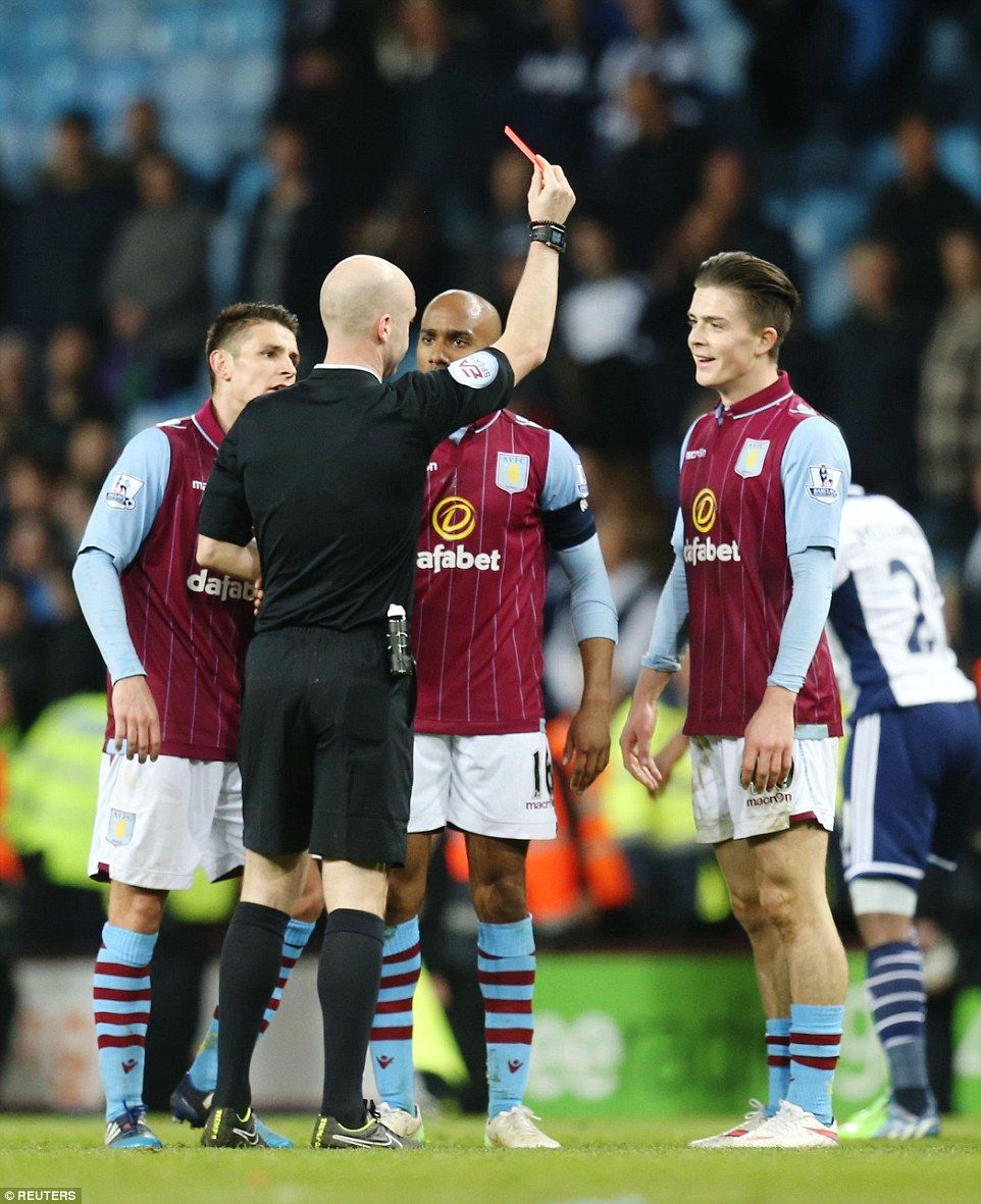 3bf84779e31 March 7th. 2015: Villa substitute Jack Grealish sent off in injury time in  the FA Cup quarter-final against West Brom. after receiving a second yellow  card ...