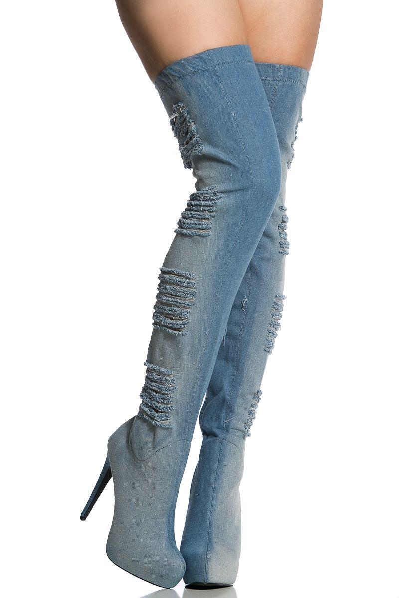 Distressed Denim Thigh High Platform Boots Cicihot Boots Catalog