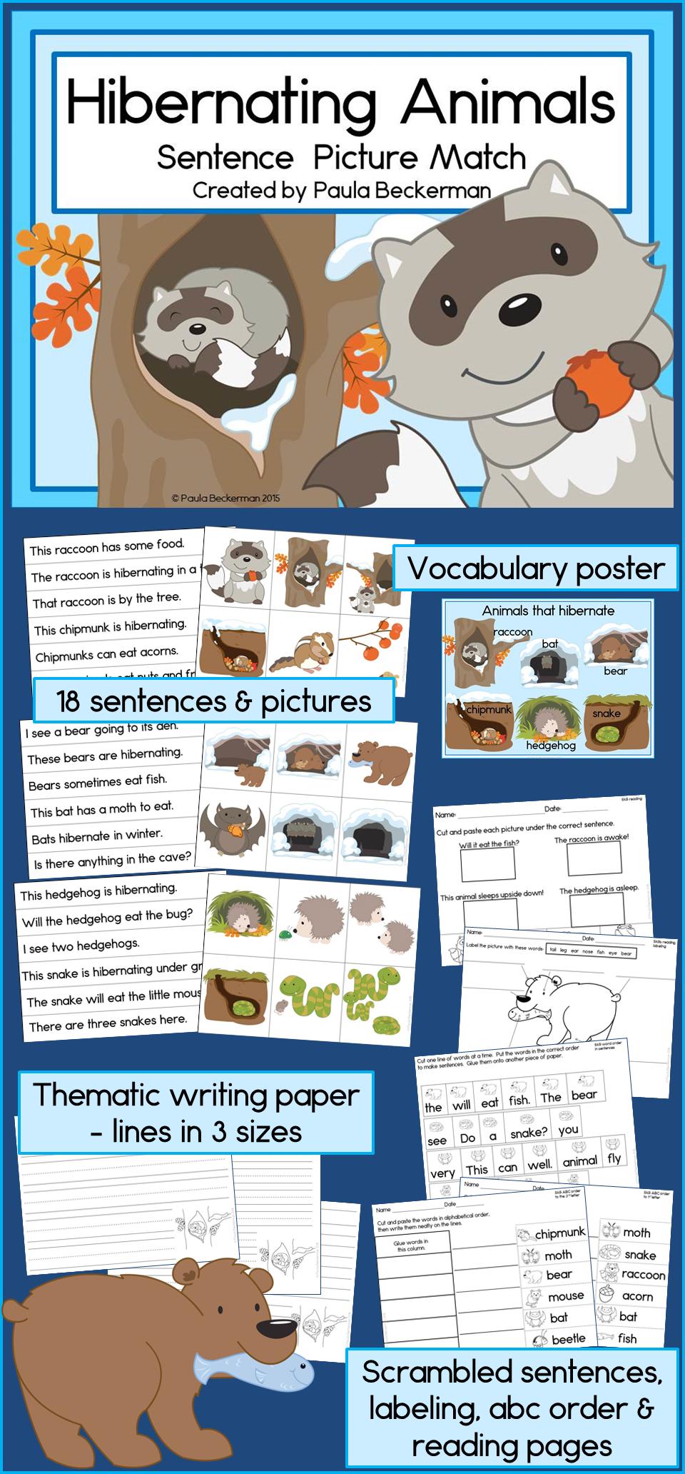 Hibernating Animals Sentence Picture Match Reading Center Animals That Hibernate Animal Sentence Winter Animals Kindergarten [ 2064 x 960 Pixel ]