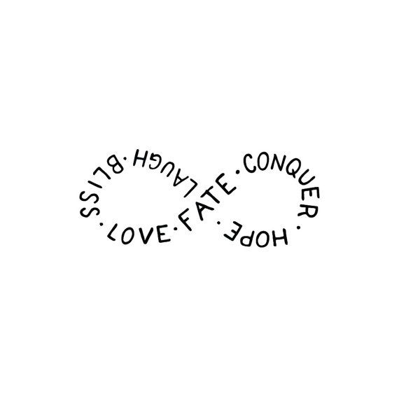 Infinity Symbol Temporary Tattoo Quote Set Of 2 Love Fate