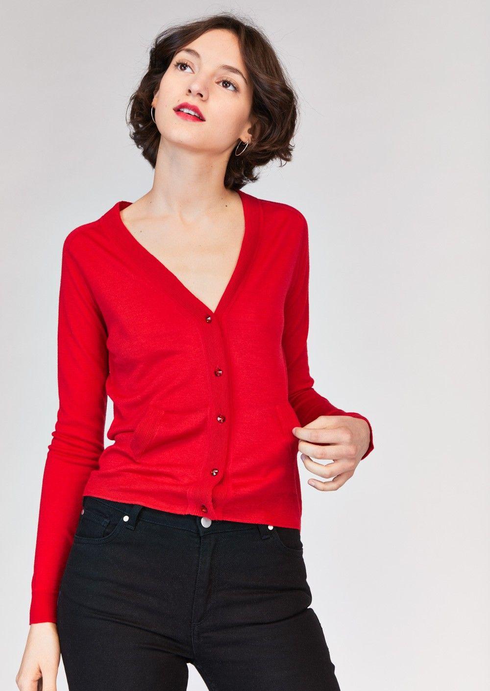 Gilet rouge en laine femme