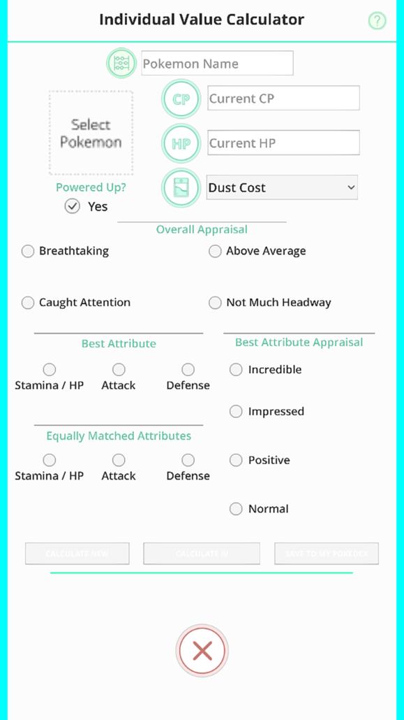 Field Guide for Pokémon GO - IV Calculator Simple IV calculation