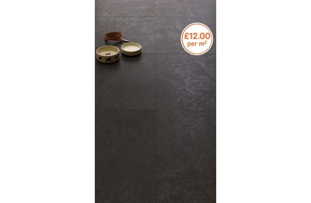 Homebase, Black ceramic effect laminate flooring for ...