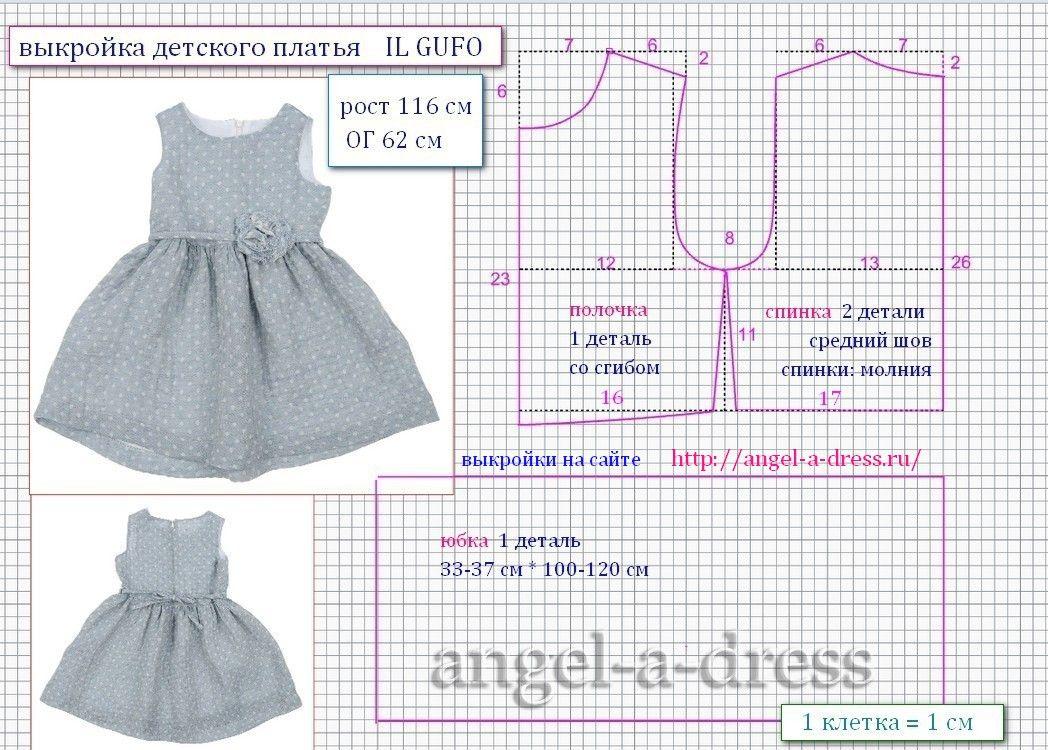 116 размер выкройка платья для девочки Il Gufo | Детская мода ...