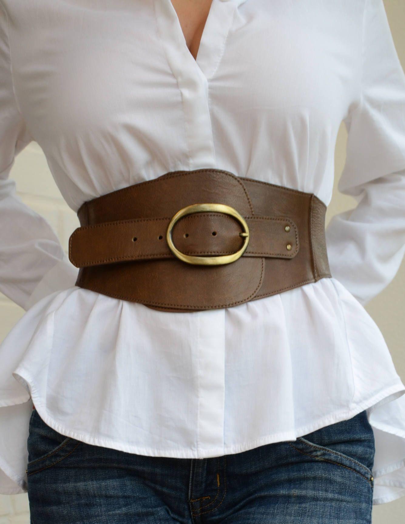Wide corset belt Leather corset belt Womens leather belt