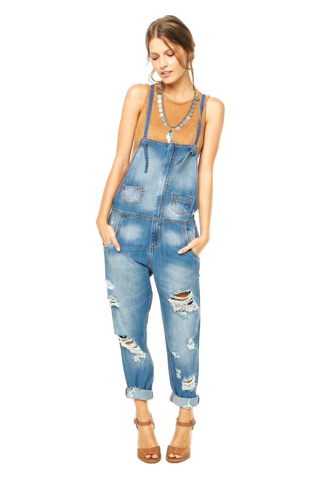 4d616f981 Macacão Jeans Colcci Puídos Azul | Jeans | Casual jeans, Overalls e ...