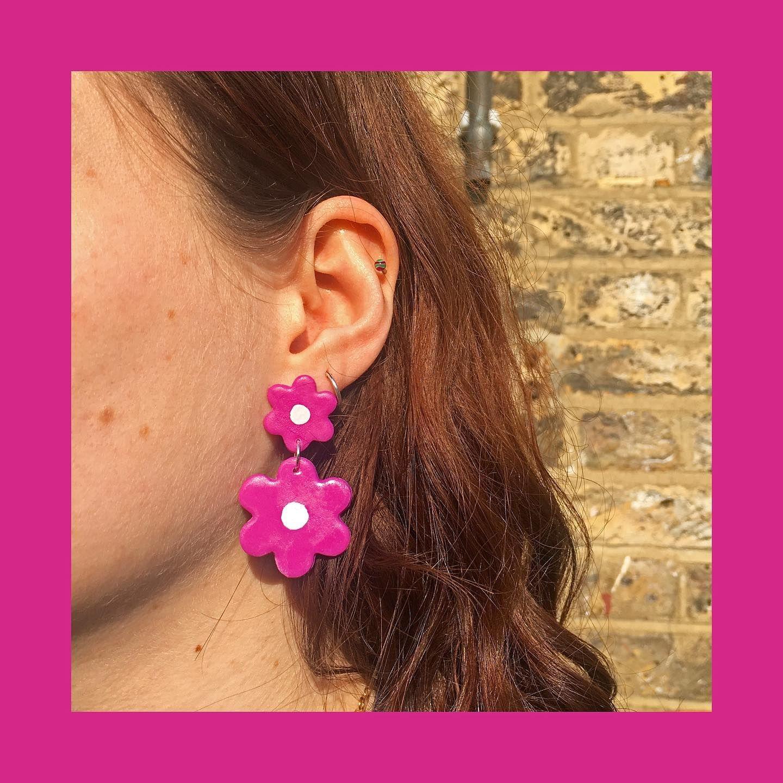 Fuchsia Flower Drop Earrings A Personal Favourite In 2020 Quirky Earrings Fuchsia Flower Earrings