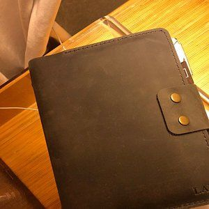 Personalized Size A5 Leather removable insert, 5.9 x 8.5 inch, 6 hole leather insert with pocket, Natural Thick Leather