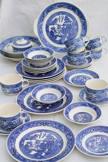 Vintage Royal China Blue Willow Luncheon Tea Set For Six W Homer Laughlin Serving Bowl