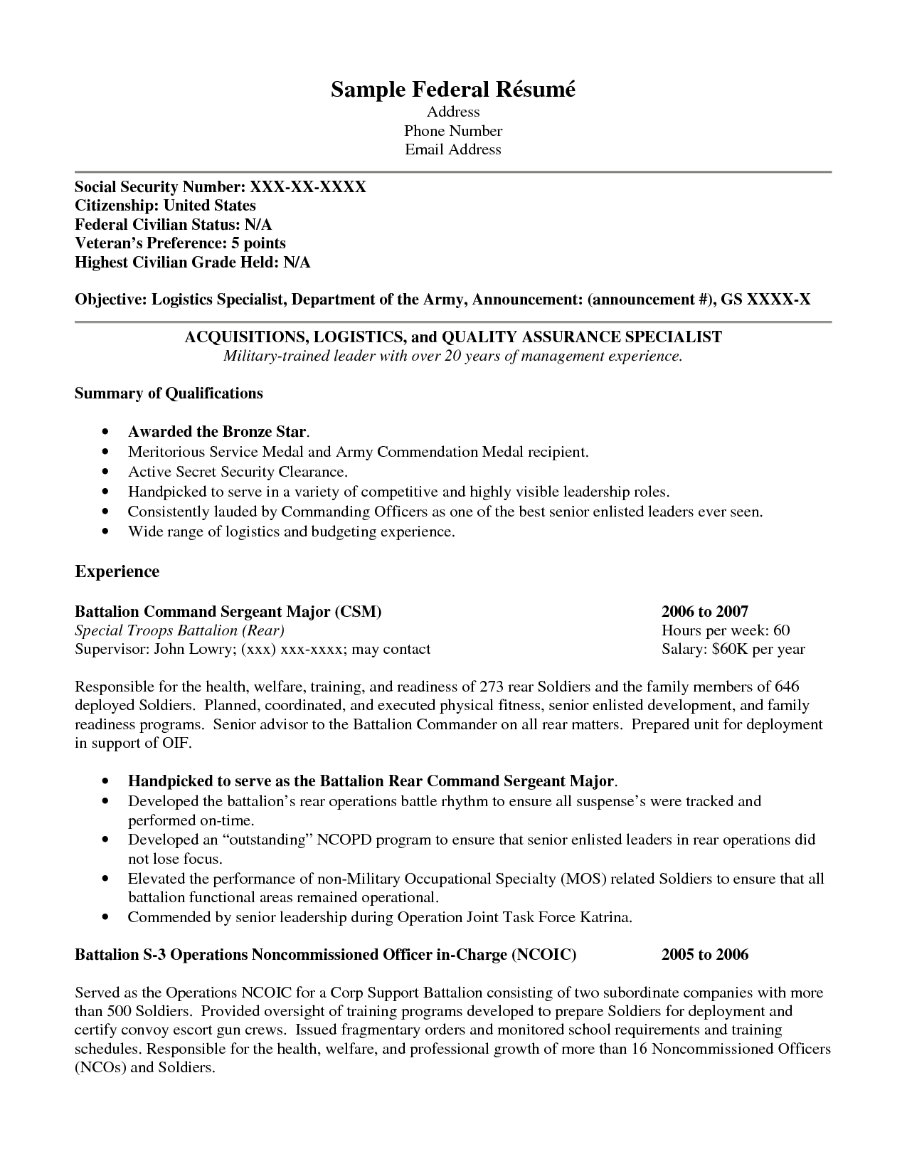 Free Military Resume Builder Templates And Service For Veterans Veteran  Template How Write Logistics Specialist Army  Military Resume Builder