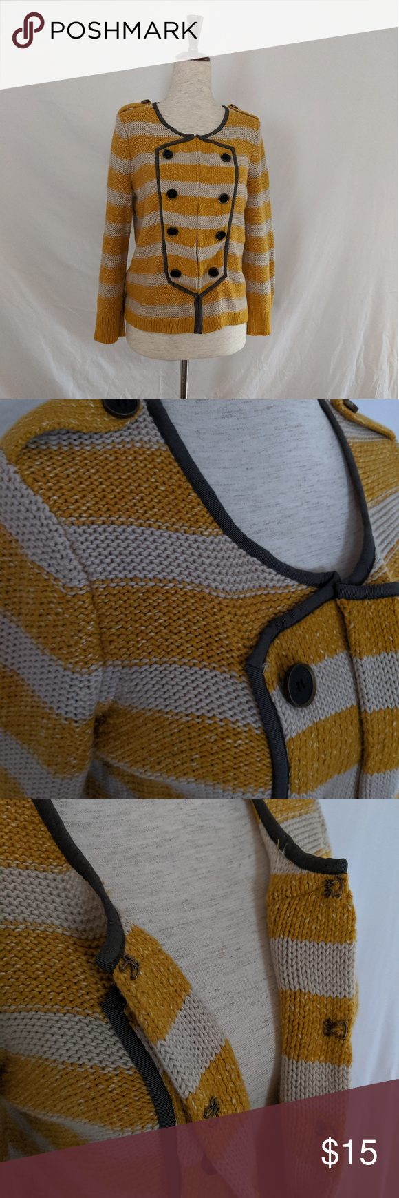 Photo of Loft Yellow and Cream Knit Striped Sailor Cardigan Perfectly cozy Ann Taylor Lof…