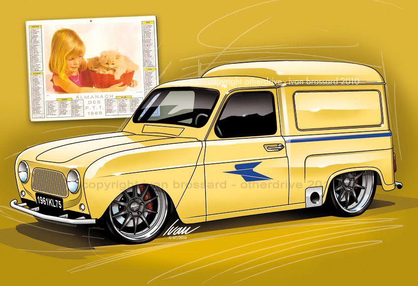 Renault 4l la poste ivan brossard cars illustrations voiture tuning dessin voiture et - Dessin renault ...