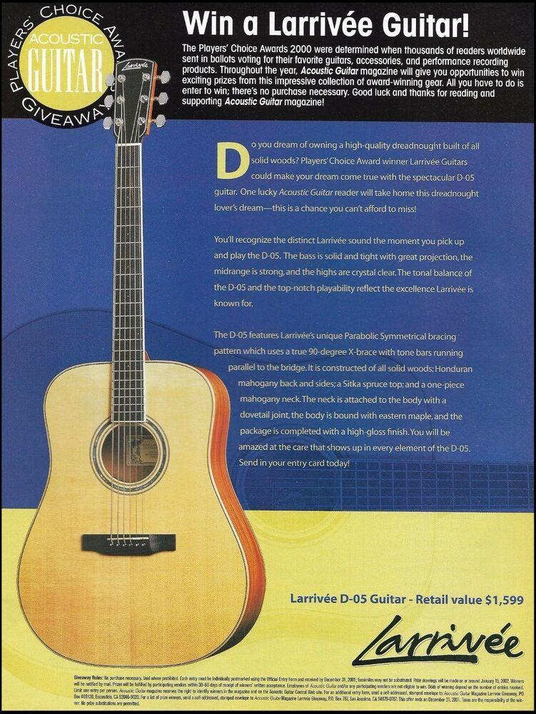 Larrivee Model D-05 Guitar 2000 Players' Choice Award Contest
