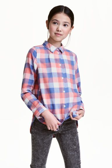 Cotton twill shirt - Coral/Checked - | H&M GB 1