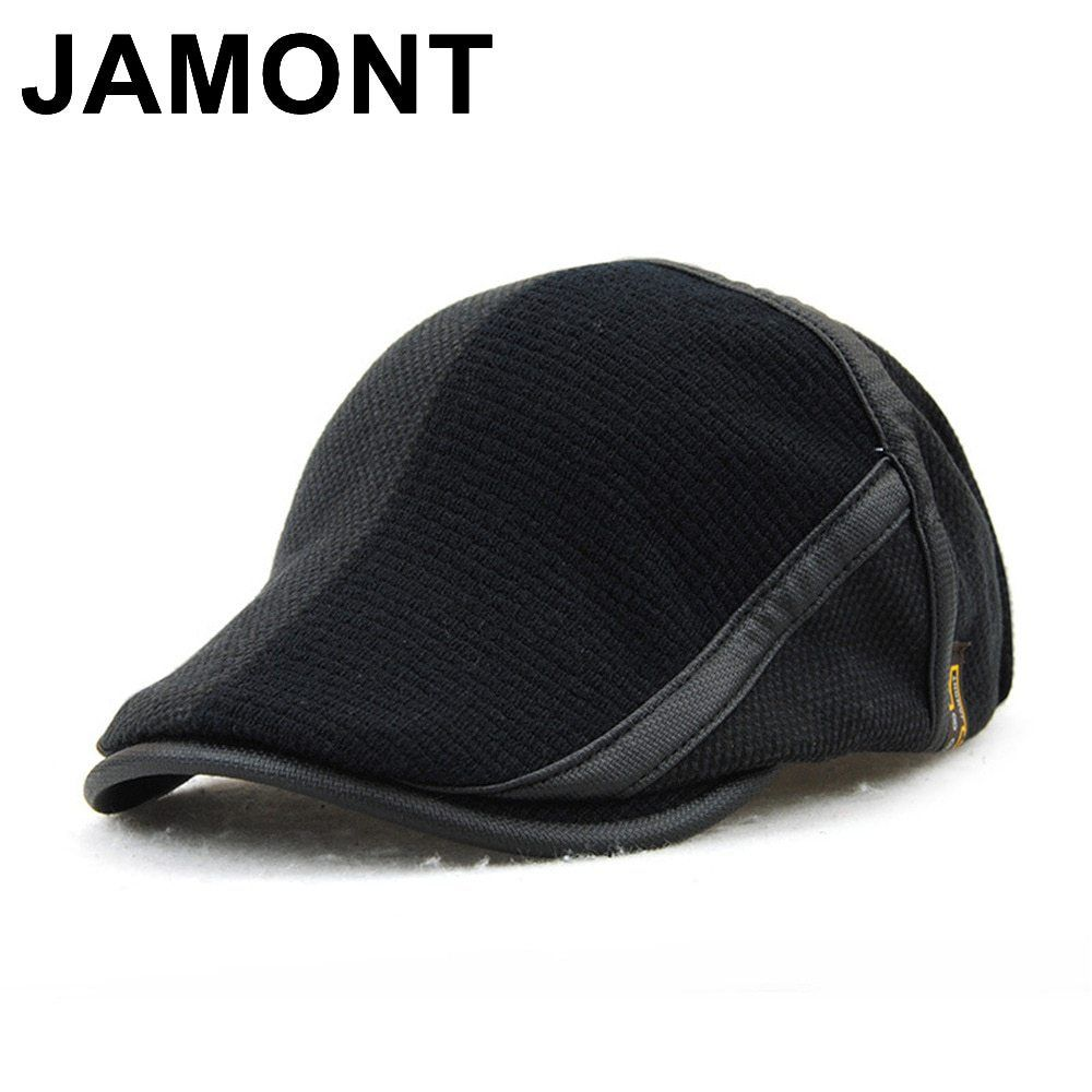 cf0d21a46c4 Jamont Winter Elderly Men Hat Newsboy Cap Flat Beret Cap For Male Thick  Wool Beret Peaked Hats Boina Vintage Plaid Warm Bonnet now available on  Affordable ...