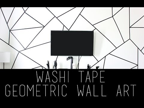 Diy Geometric Wall Art Using Washi Tape Pinterest Tumblr Youtube Washi Tape Wall Art Tape Wall Art Washi Tape Wall