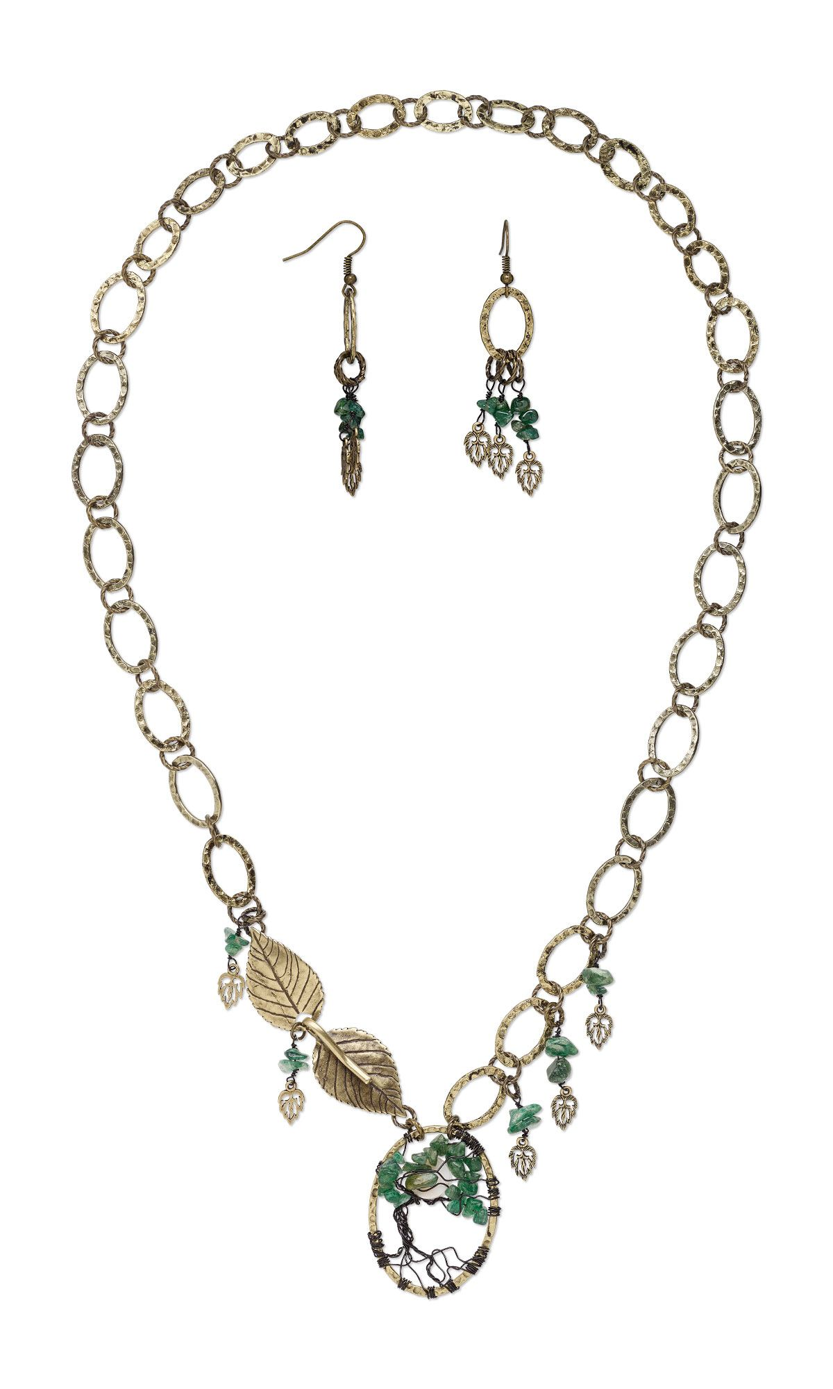 Jewelry Design - Single-Strand Necklace and Earring Set with Green ...