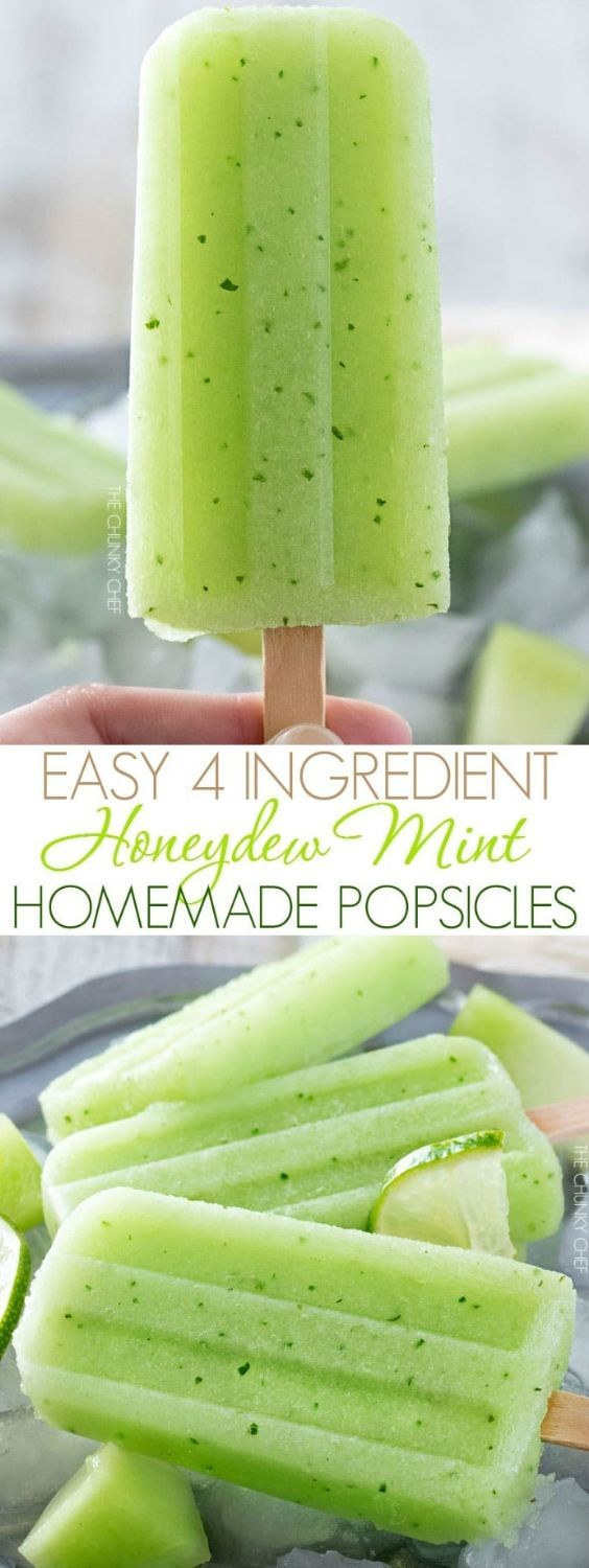 The refreshing taste of sweet honeydew melon and fresh mint will make these easy 4 ingredient homemade popsicles an instant favorite! #homemadepopsicleshealthy