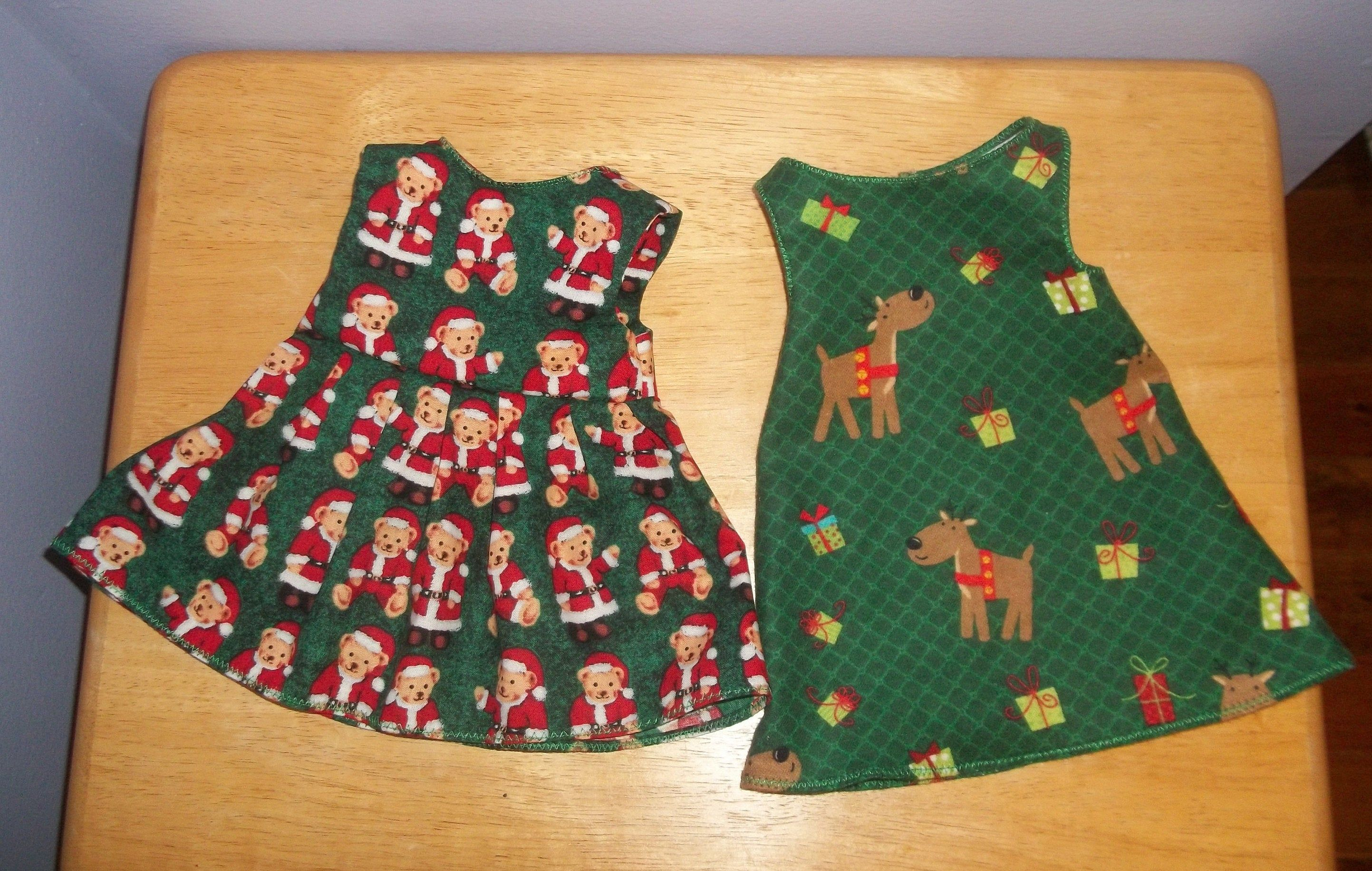 American 18 Inch Doll Clothes two dress set green with bears and green with reindeer #18inchdollsandclothes