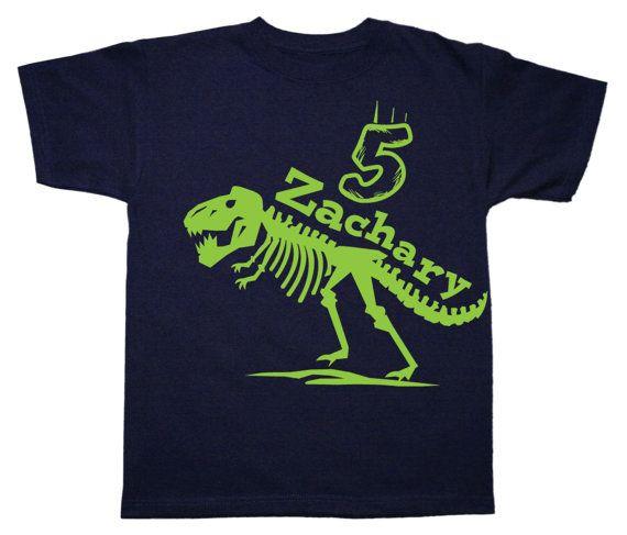 499ce080 T Rex birthday shirt, 1st 2nd 3rd 4th 5th, boys dinosaur birthday shirt -  any age - you pick the colors