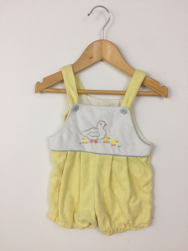8f0b6b0e0e0 Vintage Carters Baby Girls 6-9 months Romper Yellow Terry Cloth Bubble  Ducks