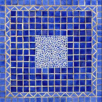 Superbe table carrée en mosaïque en coloris bleu saphir ...