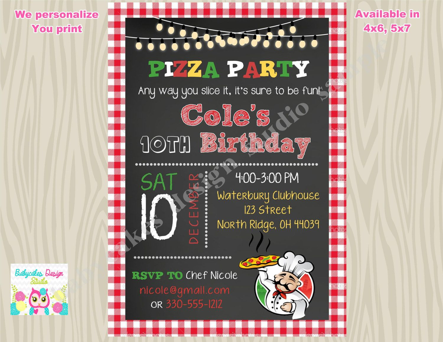 Pizza Party Invitation Invite Pizza Birthday Party invitation Pizza ...