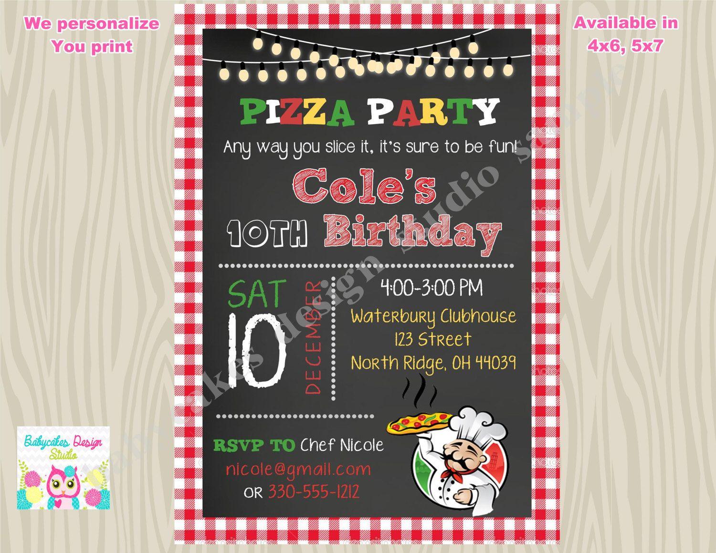 Pizza Party Invitation Invite Pizza Birthday Party invitation ...