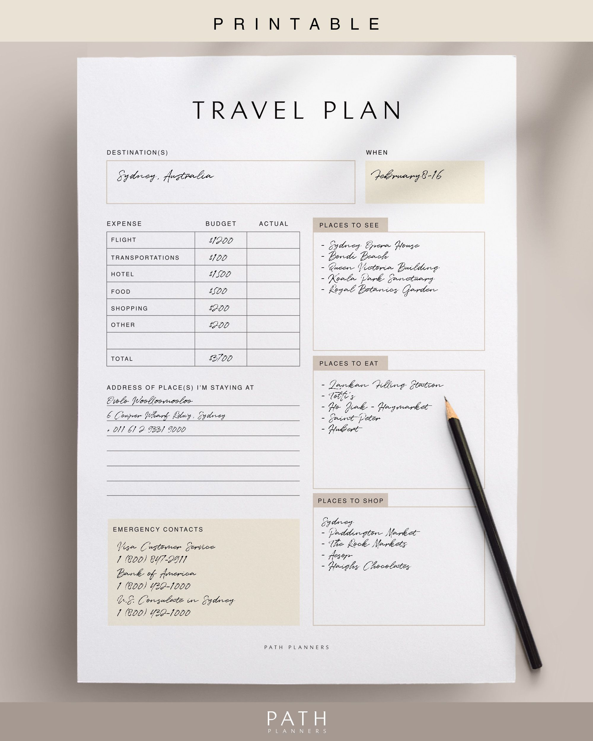 Travel Planner, Printable, Instant Download, A4, A5, US Letter