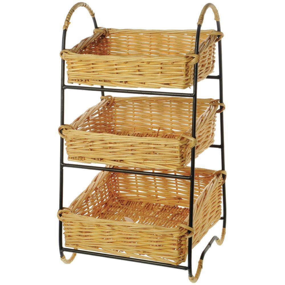 Black Wire Countertop 3 Tier Wicker Basket Stand 12 L X 11 1 2 W
