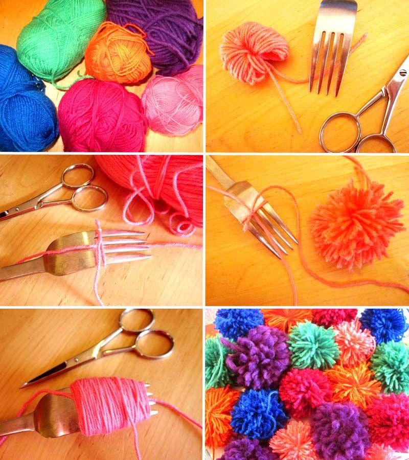 diy guirlande pompons laine pompones noel bolas de lana y bricolage. Black Bedroom Furniture Sets. Home Design Ideas