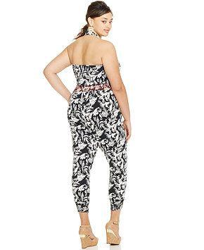 c27597b1d64 Jessica Simpson Plus Size Floral Smocked Halter Jumpsuit - Jumpsuits    Rompers - Plus Sizes -