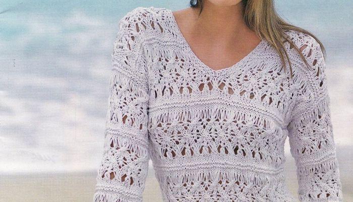 tanti schemi a maglia gratis per creare un pullover a punto ajour