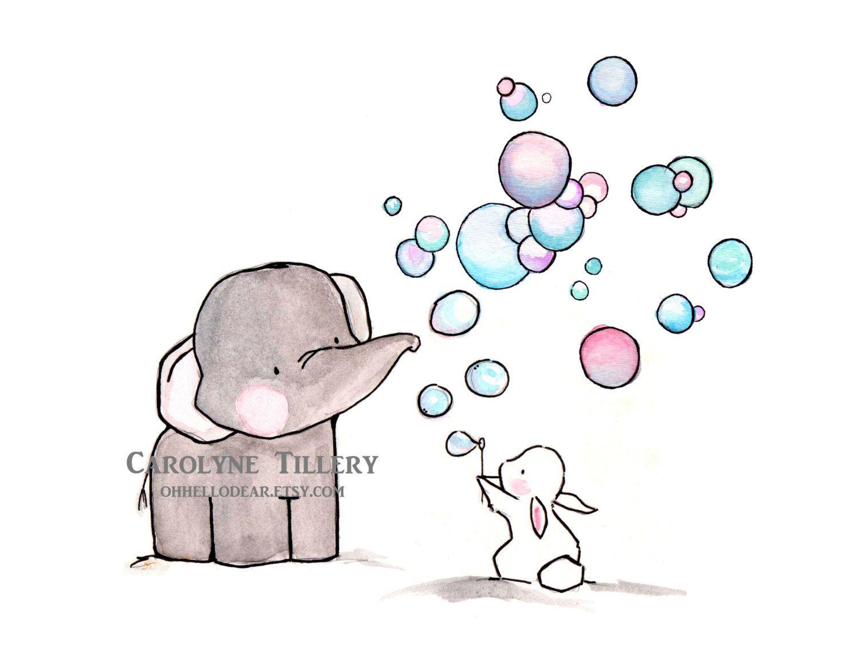 Bubbles  Archival Print  zkizze  Babyzeichnung Elefant malen und Elefant und hase
