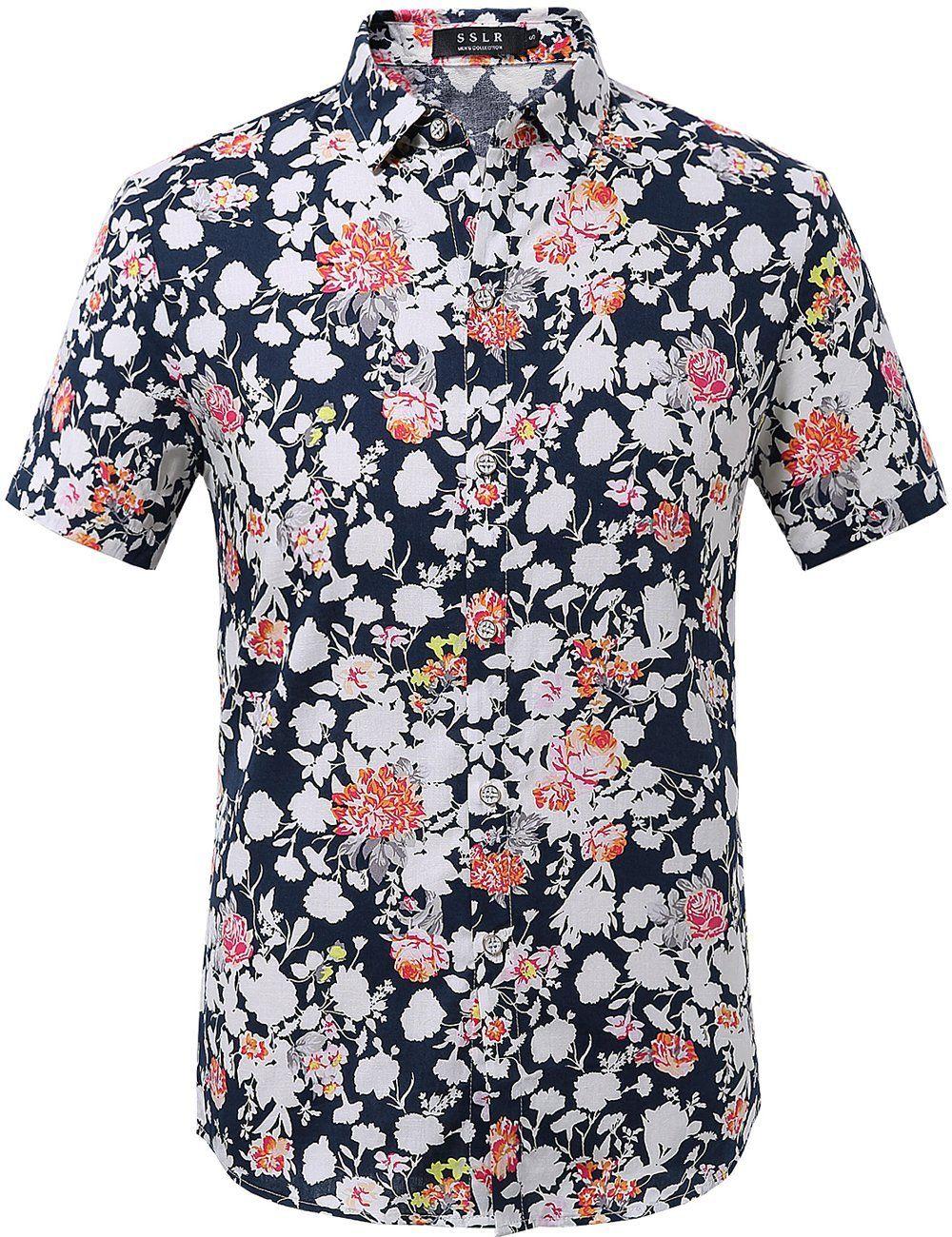 c10a839771502 SSLR Men s Summer Casual Floral Short Sleeve Shirt (Large