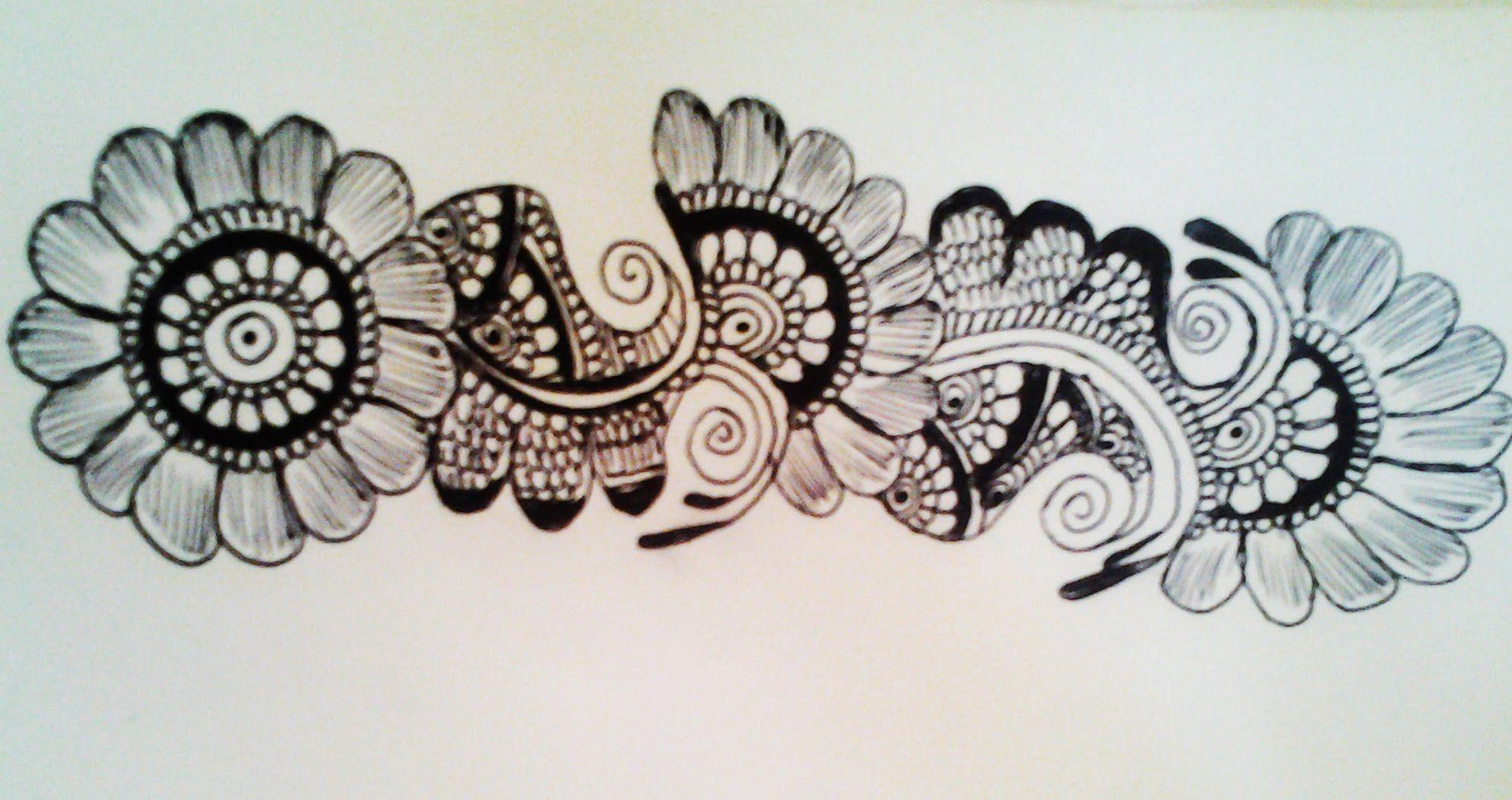 Simple Floral Line Art : Easy flower henna simple floral mehendi design cute