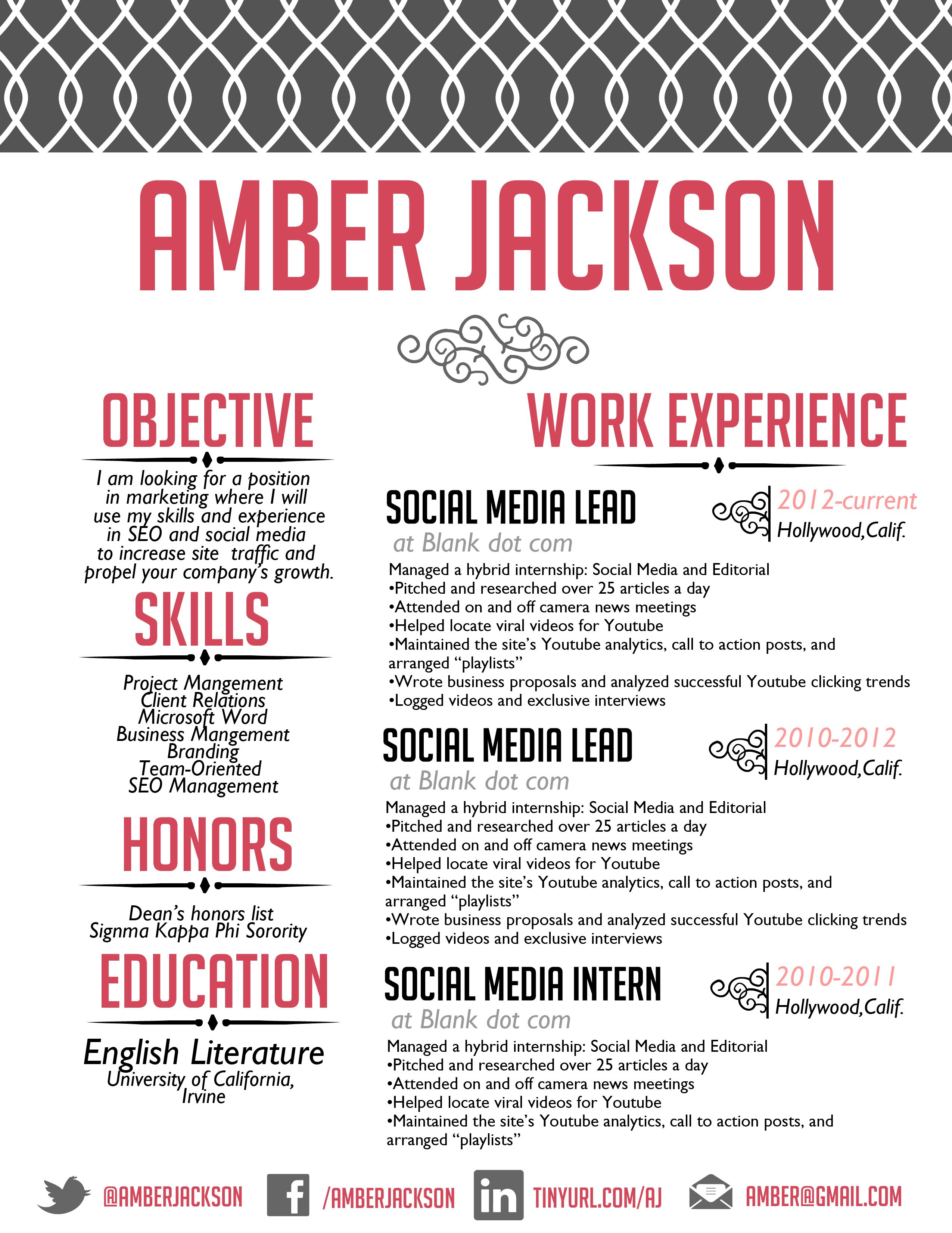 the amber jackson resume design