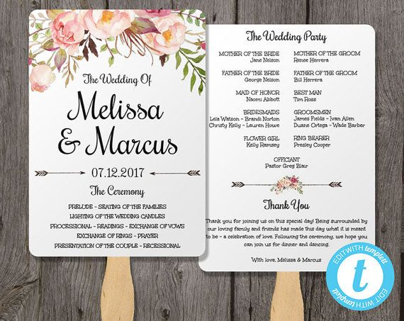 pink floral watercolor wedding program fan template wedding fan