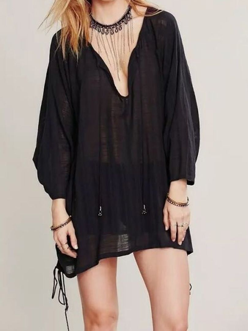Black vneck tied side long sleeve textured blouse choies tops