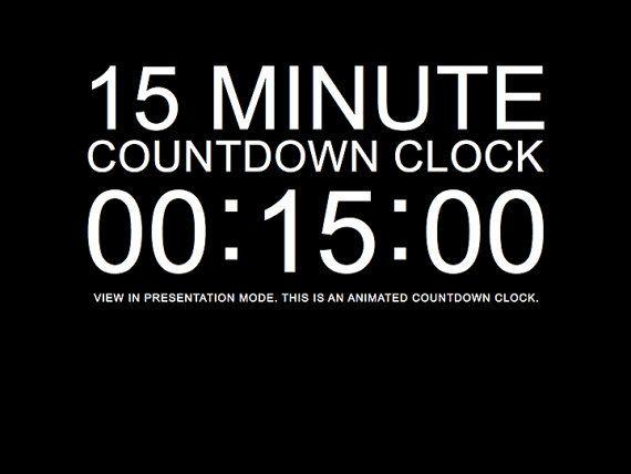15 minute black countdown clock presentation by deckologie