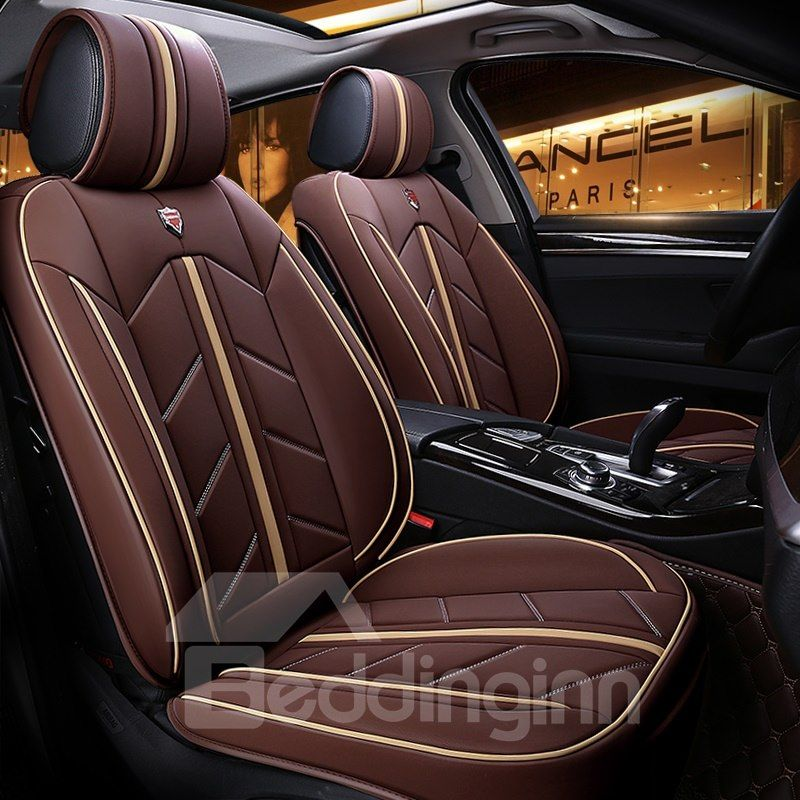 Color Blocking Advanced Design Leather Universal Fit Car Seat Cover Aksesoris Mobil Mobil Kendaraan