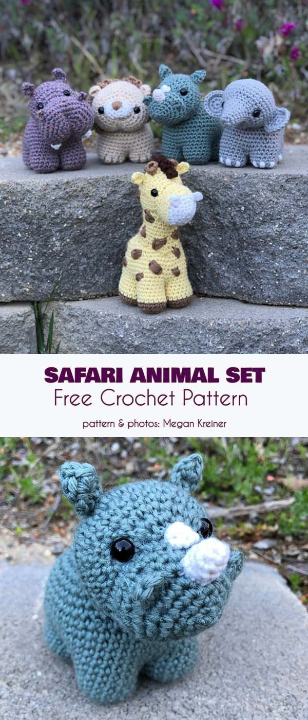 Chunkimals Safari Animal Set Free Crochet Pattern #crochetamigurumifreepatterns