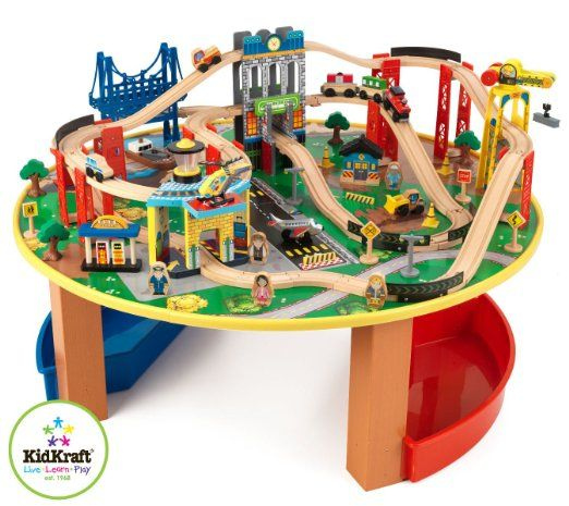 Amazon.com  KidKraft City Explorer Wooden Train Set \u0026 Play Table w/ 80  sc 1 st  Pinterest & Amazon.com : KidKraft City Explorer Wooden Train Set \u0026 Play Table w ...