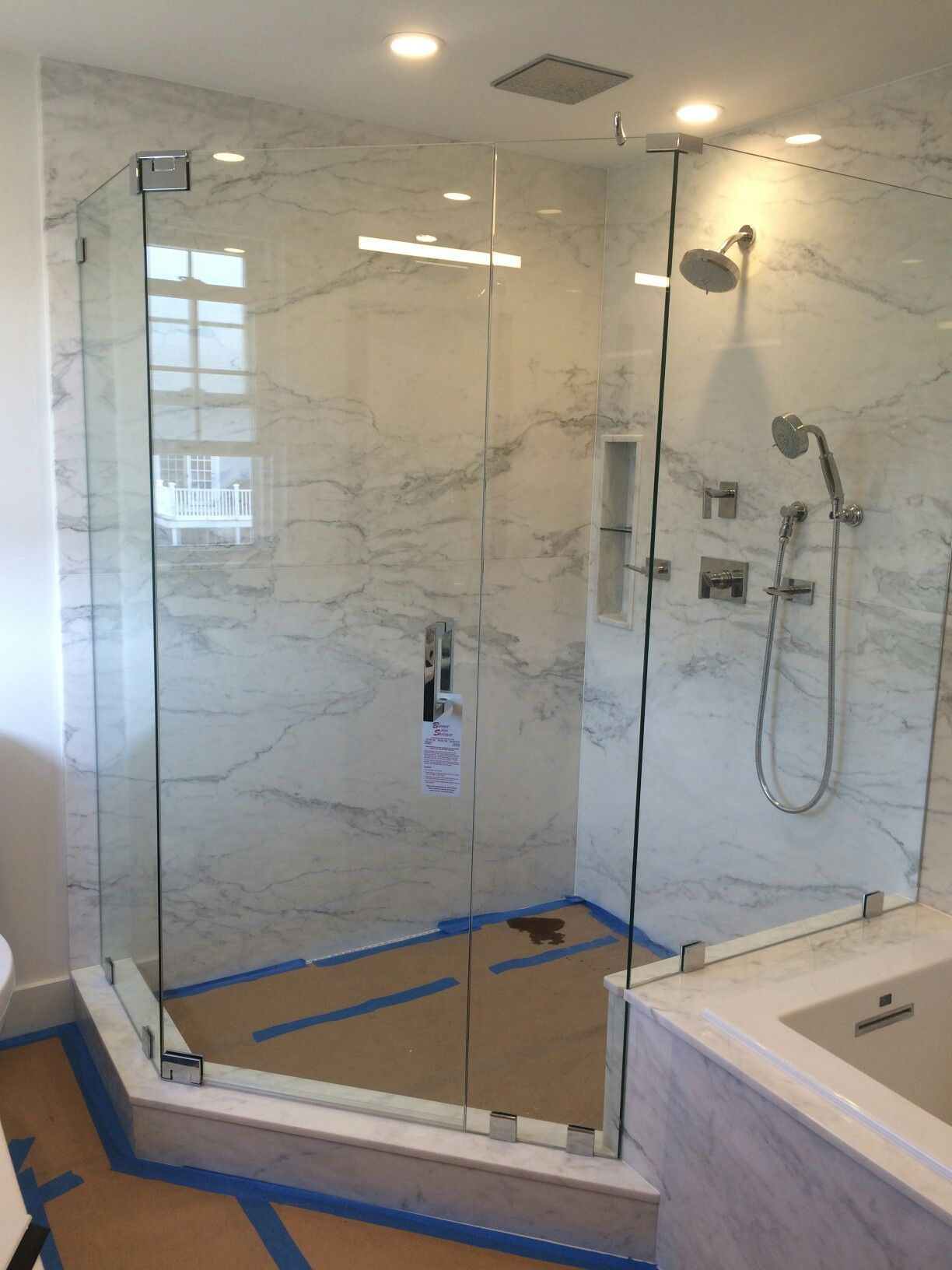 Frameless Neo Angle Shower Enclosure With No Header With Images