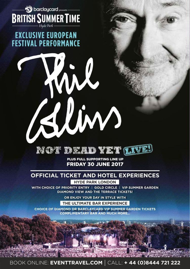 Phil collins to headline british summer time hyde park london on phil collins to headline british summer time hyde park london on friday 30 june and superb line up check out phil collins tickets and vip ticket kristyandbryce Gallery