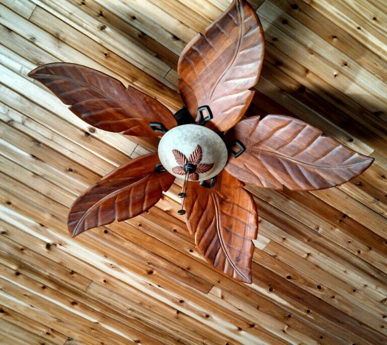 Wood Leaf Ceiling Fan Home In 2019 Tropical Ceiling